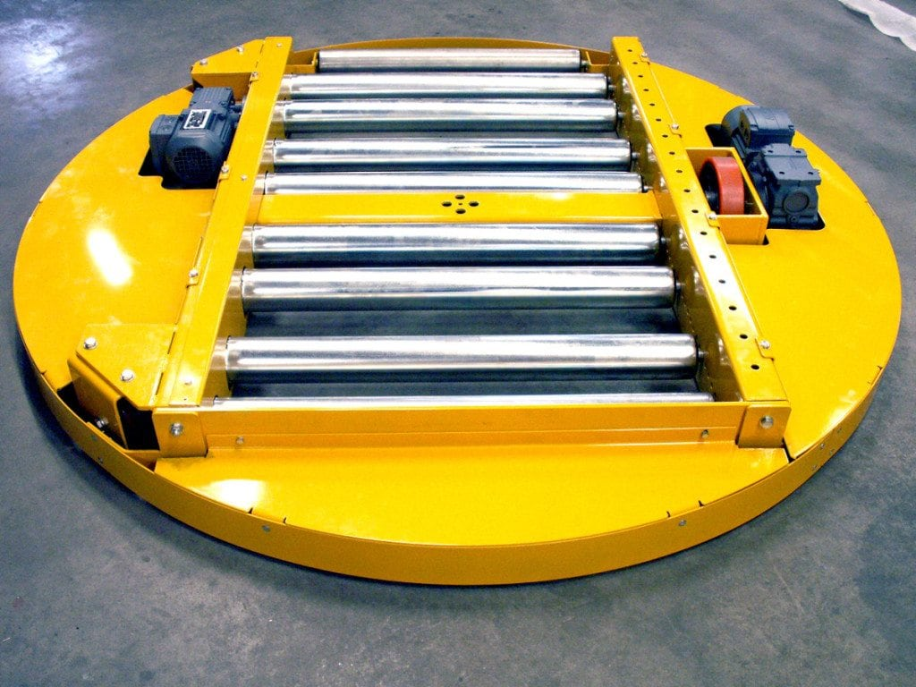 MH Modules PA1500 Turntable Roller Conveyor Low Profile On Wheels