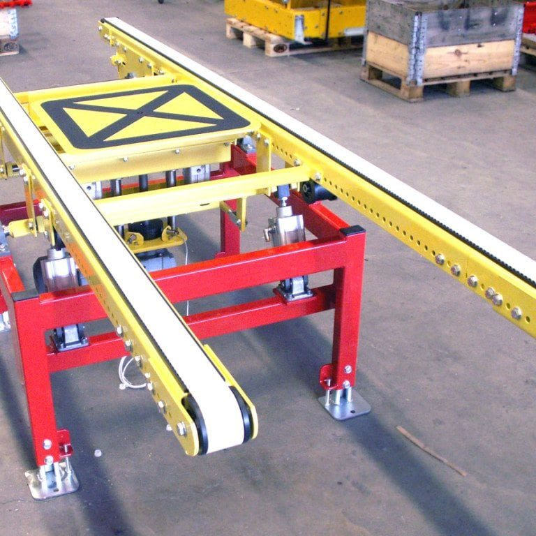 MH Modules KRT100 Lifting And Lowering Cog Belt Conveyor With Lift And Rotate Device